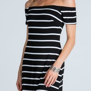 Dresses & Skirts - Striped Offshoulder Bodycon Dress